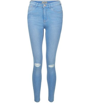 Light Blue Ripped Knee Skinny Jeans Add to Saved Items Remove from Saved Items