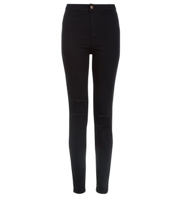 Black Double Ripped High Waist Super Skinny Hallie Jeans New Look