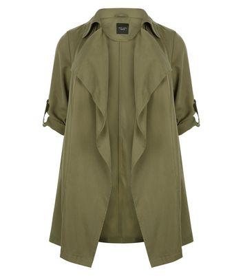 Plus Size Khaki Waterfall Trench Coat New Look