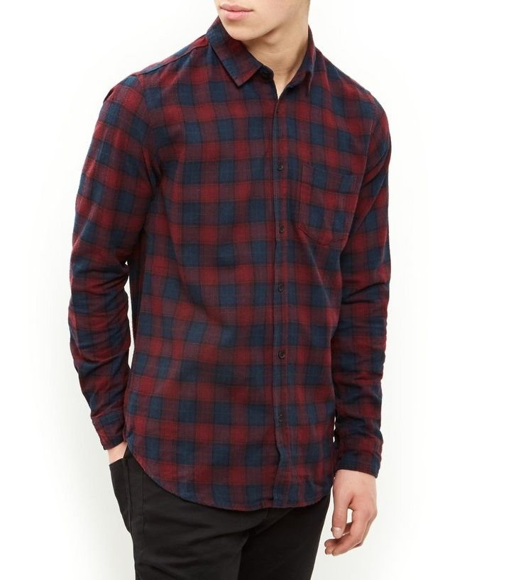 fashion style new products for top-rated fashion Navy and Red Check Single Pocket Long Sleeve Shirt Add to Saved Items  Remove from Saved Items