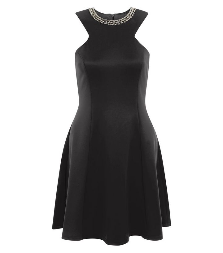 e7f02d71a0 AX Paris Black Embellished Neck Skater Dress