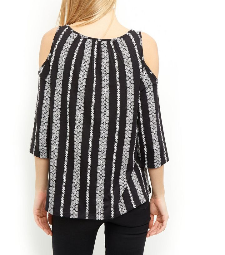 8a2319c829bc9 ... Black Abstract Stripe Cut Out Front Cold Shoulder Top. ×. ×. ×. Shop  the look