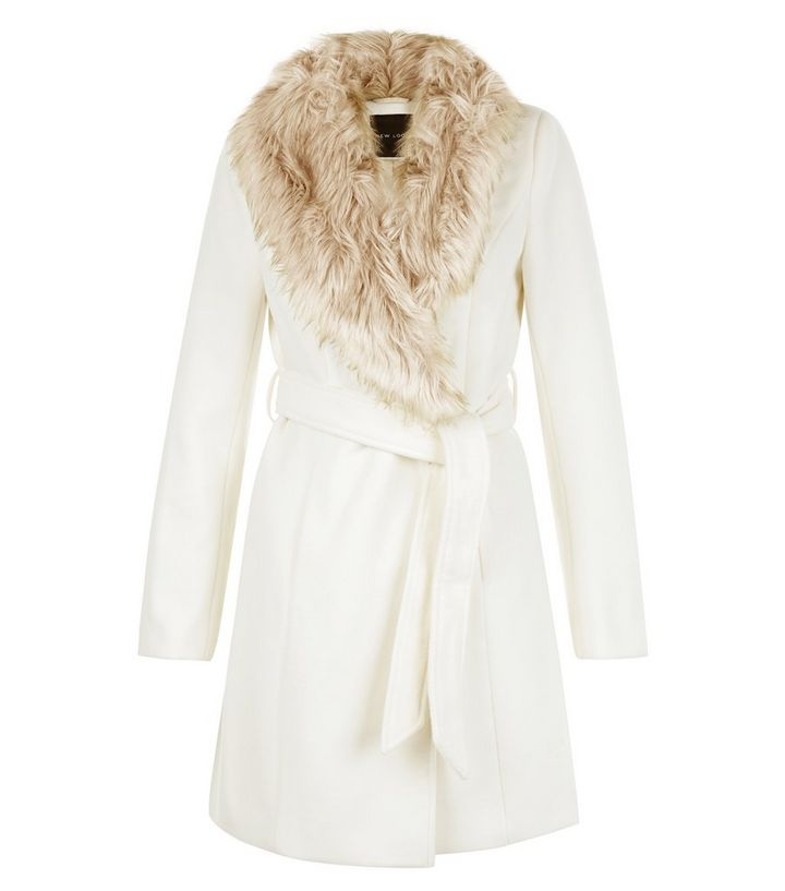 db1941aa3af Cream Faux Fur Collar Belted Coat | New Look