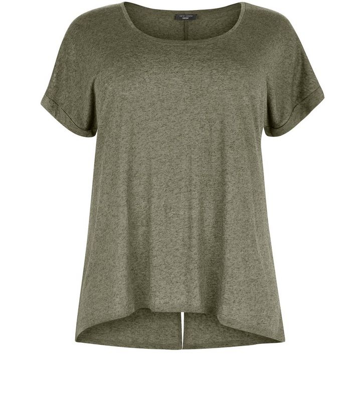 05ba2e915fe Plus Size Khaki Split Back T-Shirt