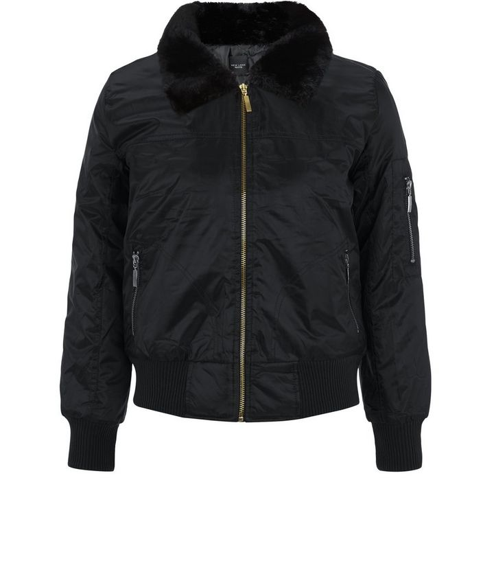 1921850132184 Petite Black Faux Fur Collar Bomber Jacket