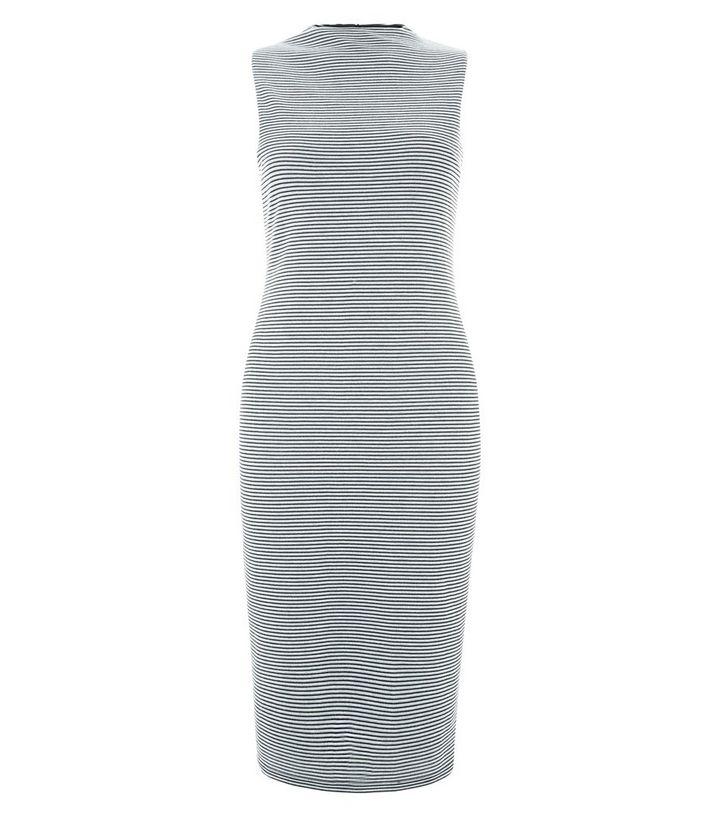 d9bc4d357d11 Black Stripe High Neck Sleeveless Midi Dress | New Look