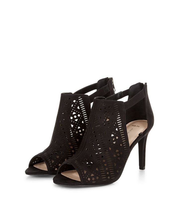 58e3cd52a87 Wide Fit Black Laser Cut Out Peep Toe Heeled Boots Add to Saved Items  Remove from Saved Items