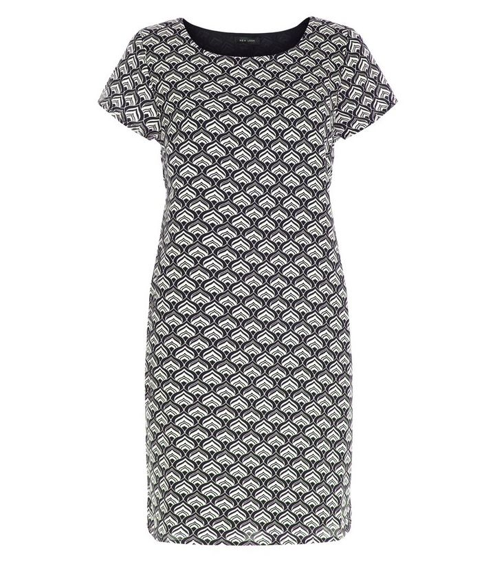 06cc91a1160 Black Tile Print Tunic Dress