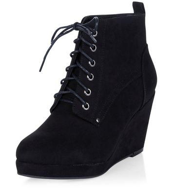 Black Suedette Lace Up Wedge Ankle