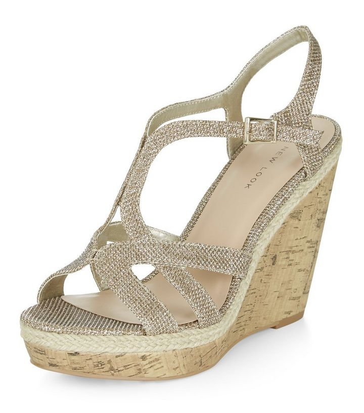 45bd5f79f385 Gold Shimmer Strappy Wedge Sandals