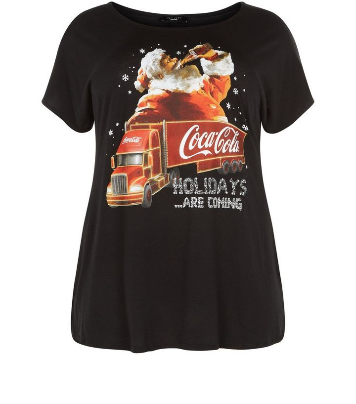 42ca5594dc670d Plus Size Coca Cola Truck Christmas T-Shirt | New Look