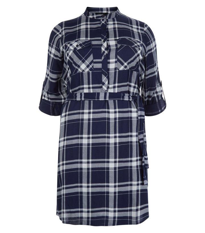 1ba9b9dfdaf Plus Size Blue Check Grandad Collar Shirt Dress