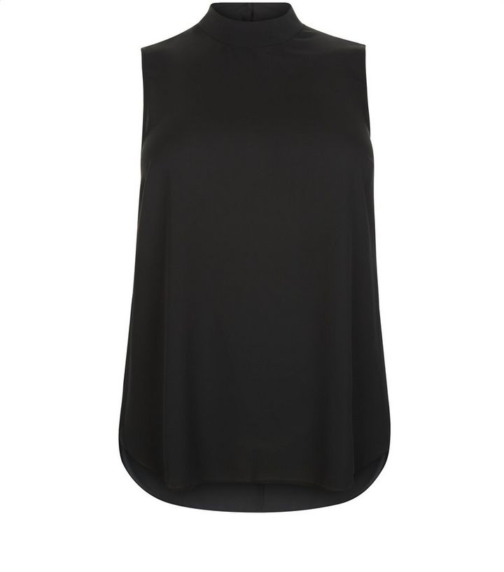 3b486aac29904b Curves Black Funnel Neck Longline Sleeveless Top