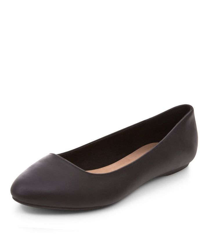 8be9b409171 Wide Fit Black Leather Pointed Pumps
