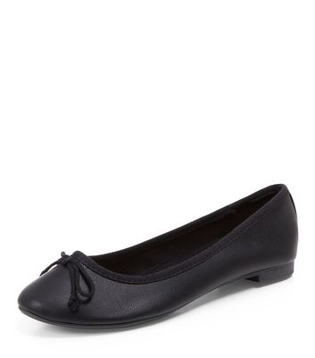 Black Leather-Look Ballet Pumps New Look