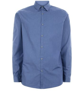 Blue Long Sleeve Cross Dye Shirt New Look