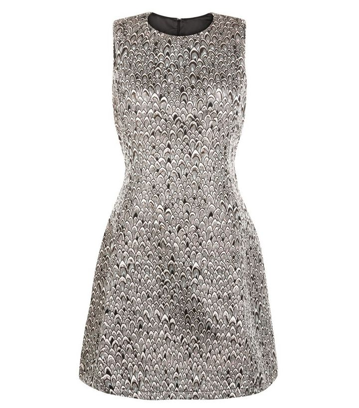 AX Paris Silver Abstract Print Metallic Skater Dress  c7b98e217