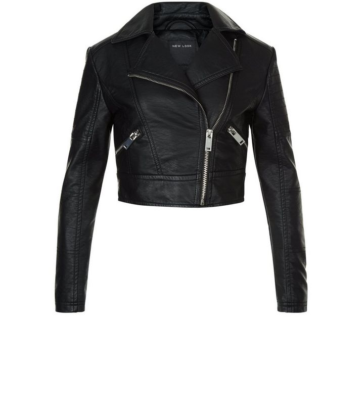 b8990e46cb0 Girls Black Leather-Look Biker Jacket Add to Saved Items Remove from Saved  Items