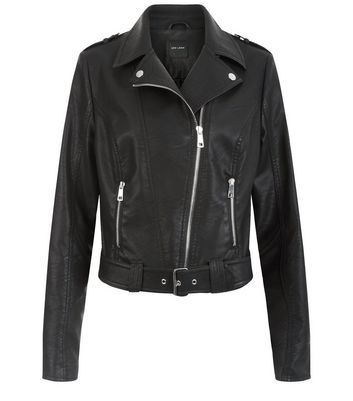 Black Leather Look Belted Biker Jacket Add to Saved Items Remove from Saved Items