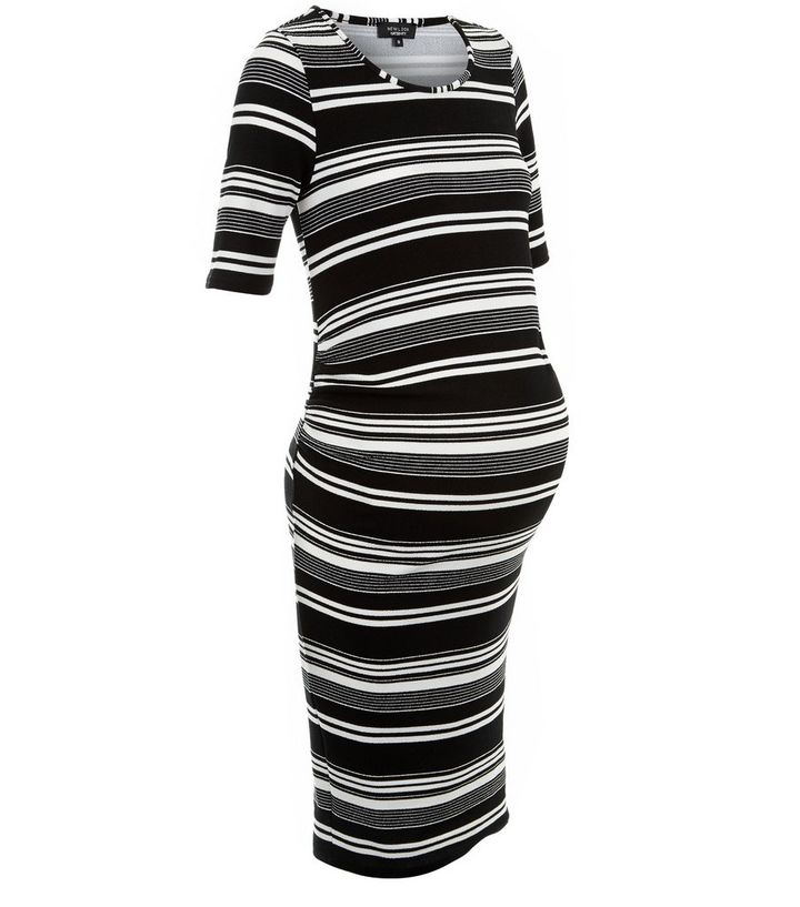 9fe6b496b83ed Maternity Black Stripe 1/2 Sleeve Dress | New Look