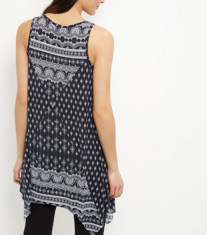 98da6f8074b ... Black Tile Print Hanky Hem Tunic Top. ×. ×. ×. Shop the look
