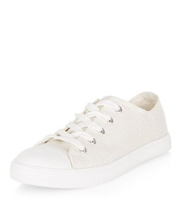 White Shimmer Canvas Lace Up Plimsolls