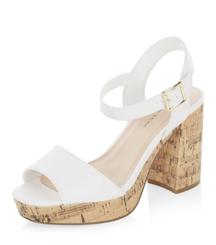 501d903c40b Wide Fit White Leather-Look Block Heels