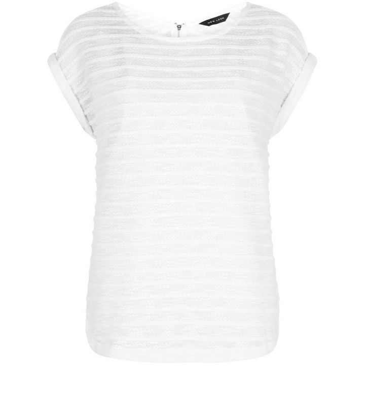 42643d4c White Fine Knit Stripe Zip Back Roll Sleeve T-Shirt | New Look