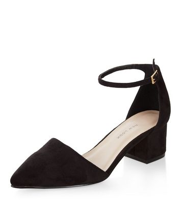 Wide Fit Black Suedette Pointed Ankle