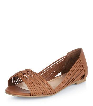 Tan Plaited Strap Peep Toe Sandals