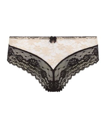 Black Contrast Lace Brazilian Briefs New Look