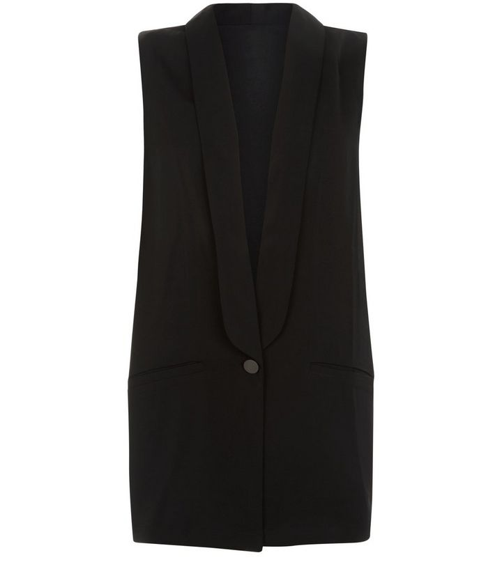 77127bba904ba2 Poppy Lux Black Sleeveless Jacket