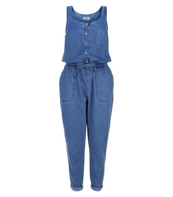 3a19e9d744 Blue Denim Button Front Tie Waist Jumpsuit