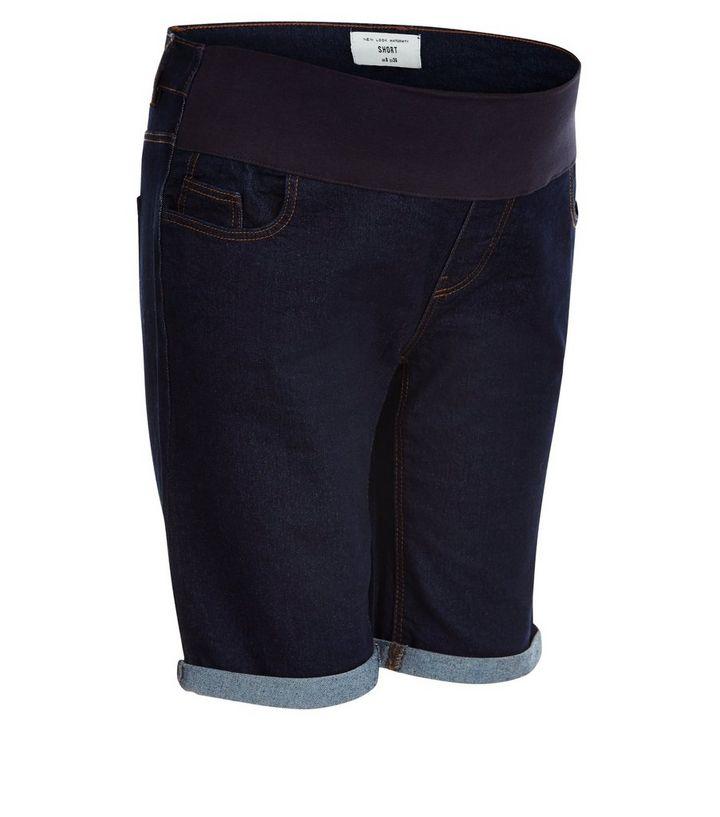 6d3e7e1ff8989 Maternity Blue Under Bump Knee Length Denim Shorts | New Look