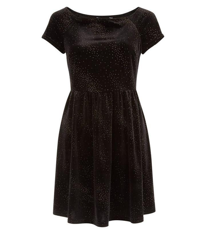 448b6eb2cdeb Black Glitter Velvet Bardot Neck Skater Dress | New Look