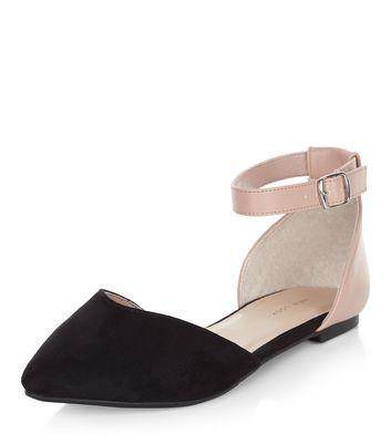 Black Colour Block Ankle Strap Flats