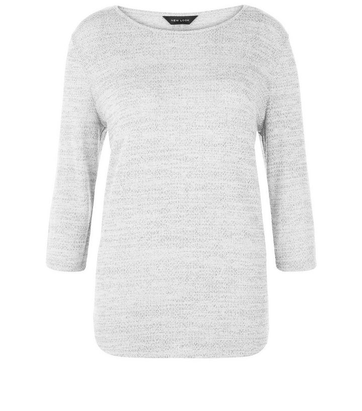 01c4e454c5 Pale Grey Fine Knit 3 4 Sleeve Top
