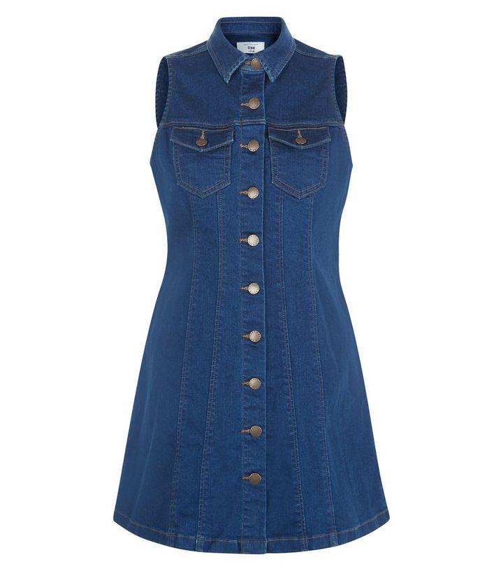 97d82e85a5 Petite Blue Sleeveless Denim Shirt Dress