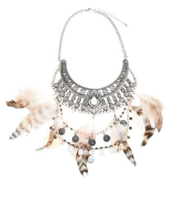 Black Feather Stone Bib Necklace New Look