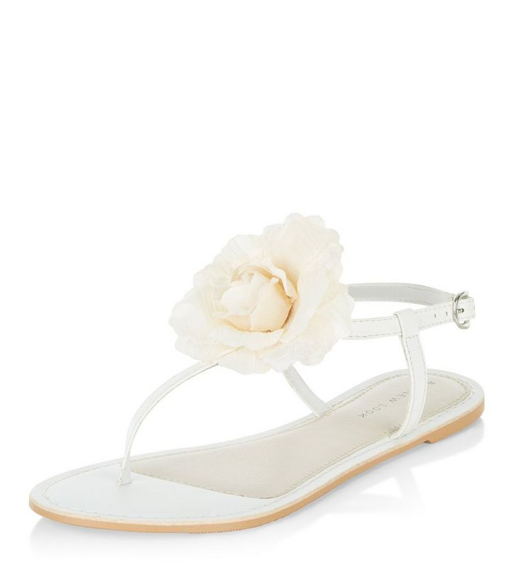 8ed9787917 White Leather Flower T-Bar Sandals | New Look
