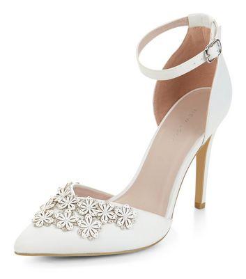 White Bridal Floral Embellished Pointed