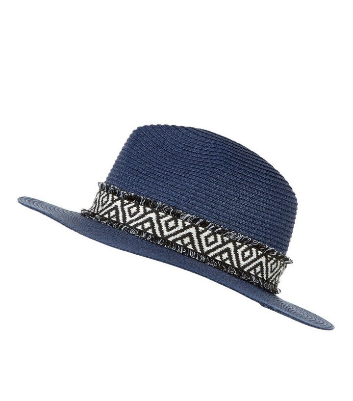 3f8dbd80b Navy Aztec Print Trim Fedora Add to Saved Items Remove from Saved Items