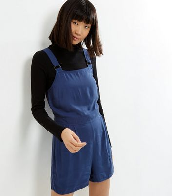 Blue Sleeveless Pinafore Playsuit New Look