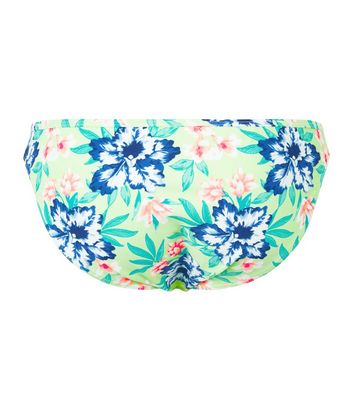 Green Tropical Print Bikini Bottoms New Look