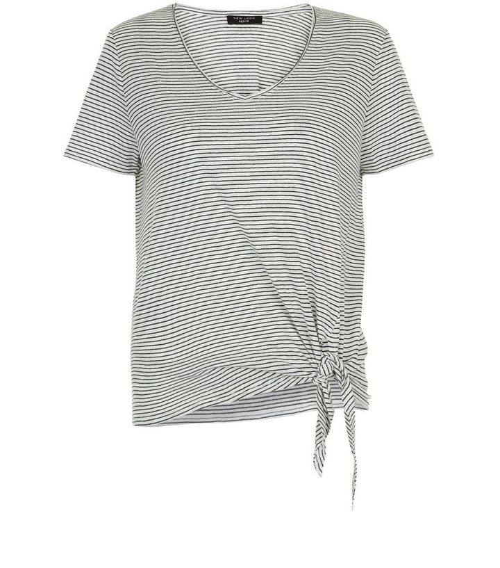 b3552a58fb Petite White Stripe Tie Front T-Shirt | New Look