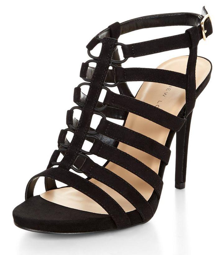 60e6d4175059fe Wide Fit Black Elasticated Strap Heels