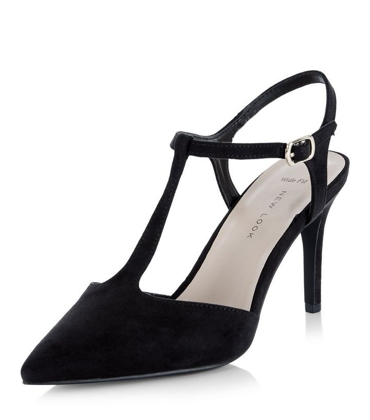 208b7c11354 Wide Fit Black Suedette T-Bar Pointed Heels Add to Saved Items Remove from  Saved Items