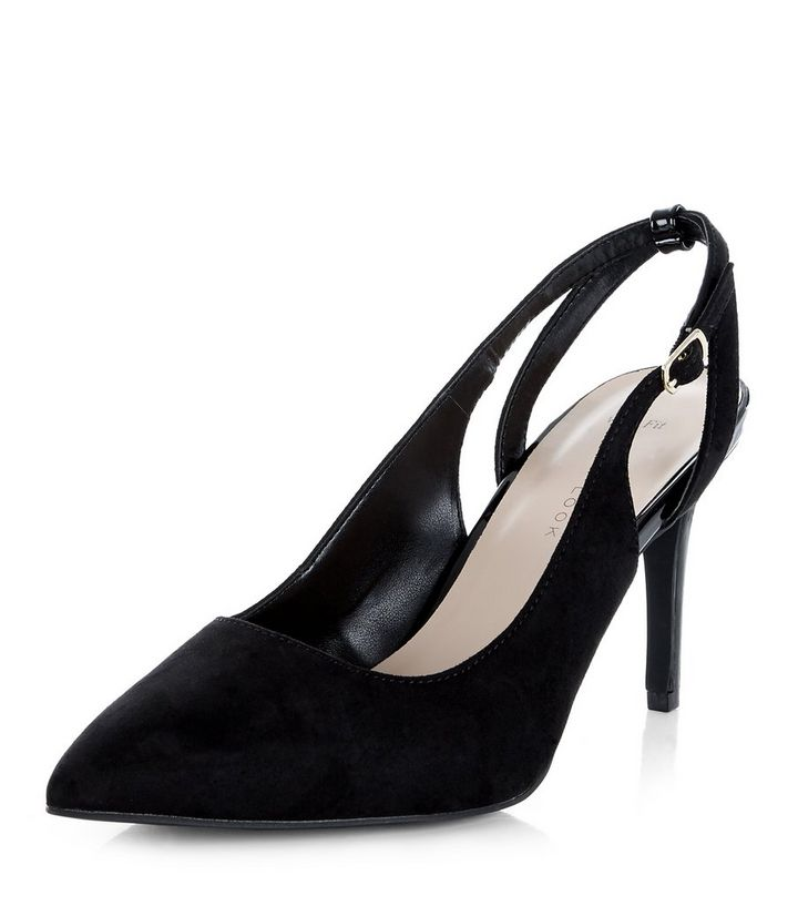 ea9401568ef Wide Fit Black Suedette Sling Back Pointed Heels