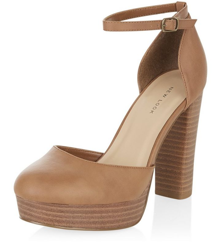 42f19c903d681 Tan Ankle Strap Block Heels Add to Saved Items Remove from Saved Items