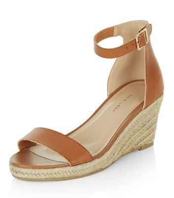 Tan Ankle Strap Espadrille Wedges | New